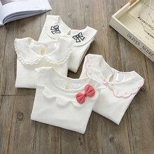 Блузки для девочек хлопковые детские топы, осенняя школьная блузка для девочек Детская весенняя одежда рубашка для девочек Рубашка с длинными рукавами для малышей, 73-130