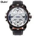 Oulm 3233 мужские часы модные авиаторы военные часы кожаные Наручные часы 4 часовые зоны кварцевые часы большие шестеренки мужские часы