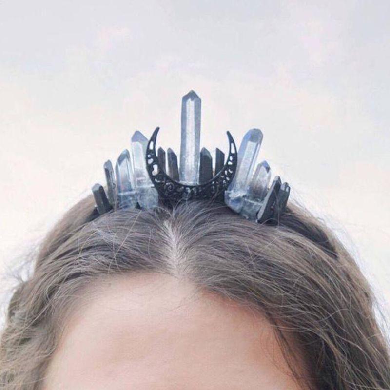 Ручной работы из искусственного сырья ободок для волос, повязка с кристаллами кварцевые черная луна Свадебный, из сплава тиара венец