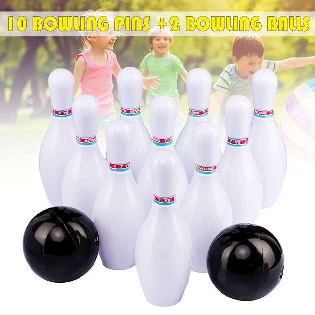 12PCS Kids Bowling Play Set 10 Bowling Pins + 2 Bowling Balls Interactive Toy Funny Non Toxic Sports Indoor Outdoor
