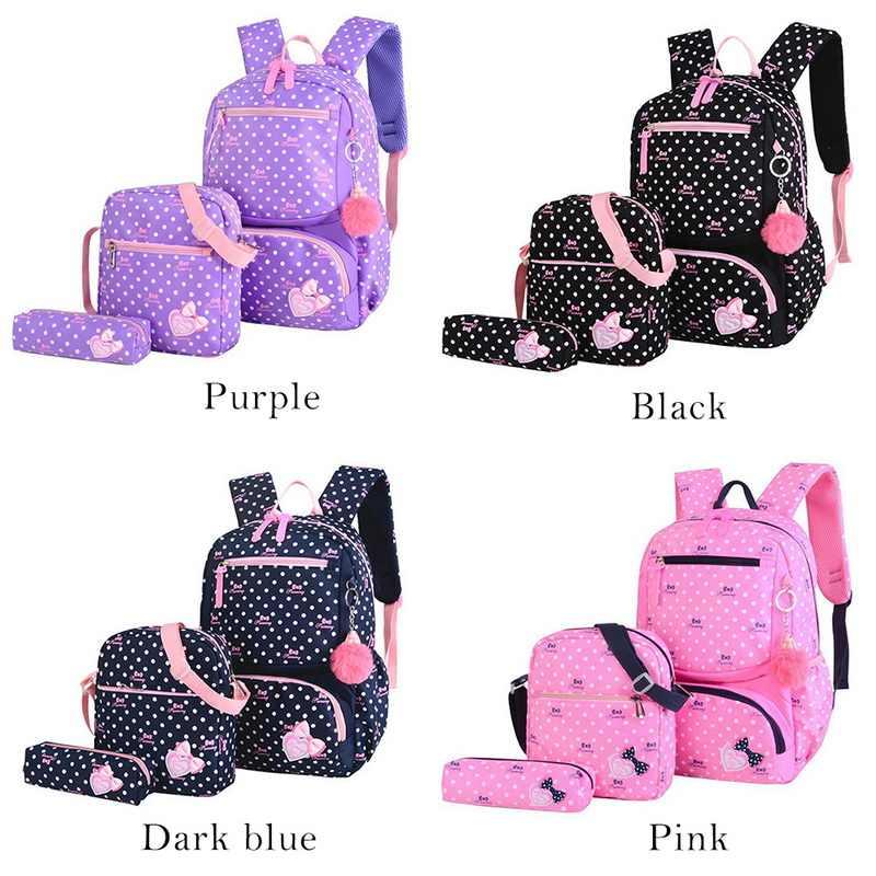 3 sztuk drukowanie torby szkolne dla dziewczynek nastolatek tornister modne plecaki szkolne dla dzieci dzieci torba podróżna czarny