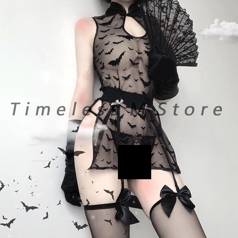 Sexy Women Lingerie Lace Night Dress See Through Cosplay Costume Bat Pattern Sleepwear Sexy Cosplay Outfit Erotic Devil Roleplay