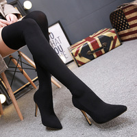 Pointed Toe Stretch Fabric Women Boots Plus Size New Long Tube Socks Boots Sexy High Heel Boots Women Over The Knee Shoes