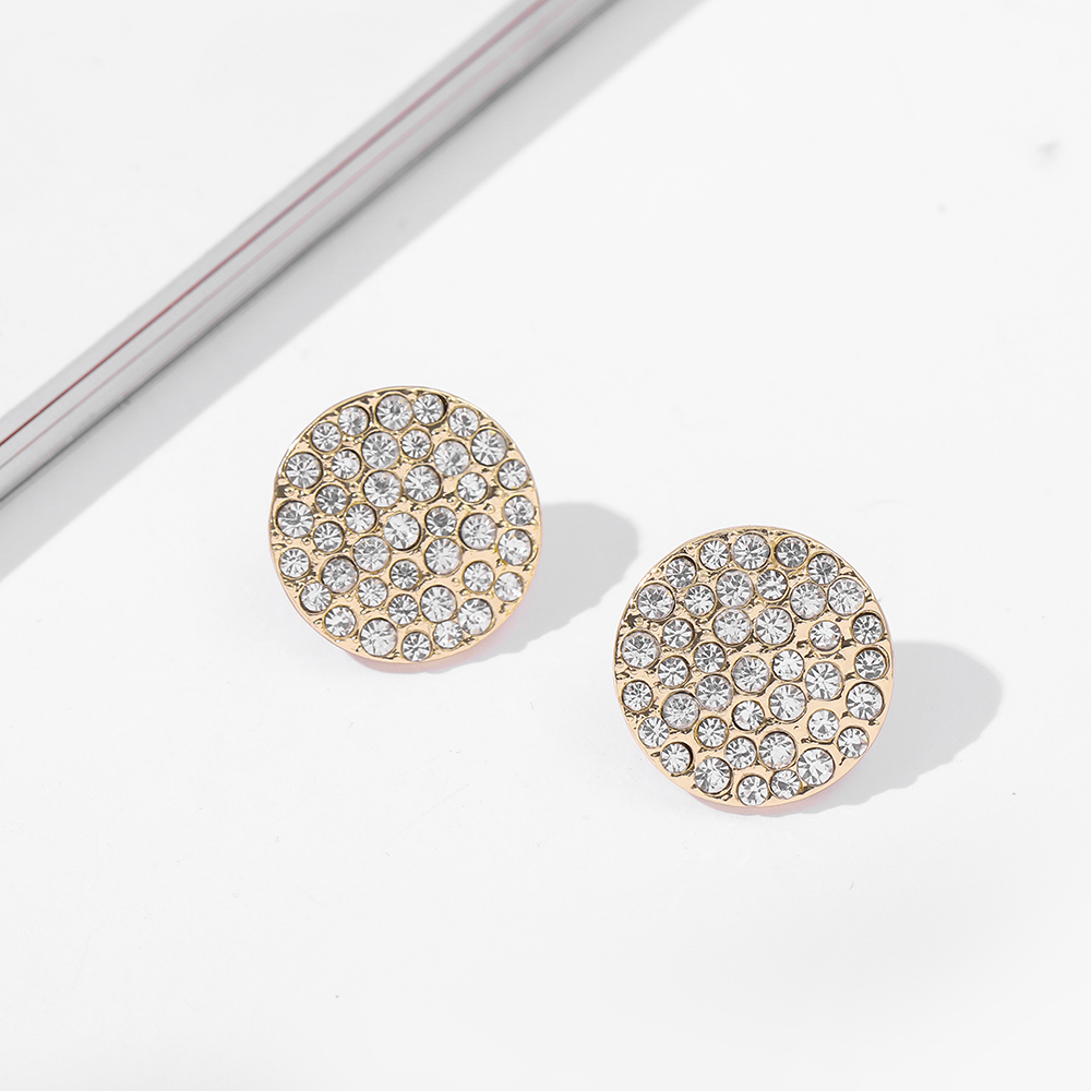 Simple Big Round Rhinestone Crystal Stud Earrings for Women Trendy Geometric Statement Earrings Minimalist Jewelry