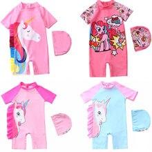 Maiô para meninas, 1 a 7 anos, roupa de banho, unicórnio para crianças, roupa de banho, Beachwear-SW427