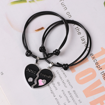 Best Friend Lady Bracelet Girlfriends Bff Heart Pendant Black And White Leather Rope Hand Chain Fashion Jewelry Gift 2021 New image
