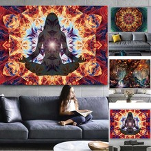 цены на Colorful Wall Hanging Tapestries Wall Canvas Painting Indian Mandala Tapestry Poster Hippie Chakra Tapestry Wall Art Pictures  в интернет-магазинах