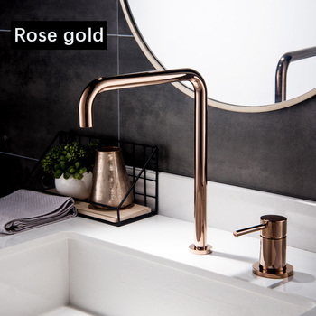 fontana basin faucet kitchen sink faucet shiny rose gold hot cold water mixer tap