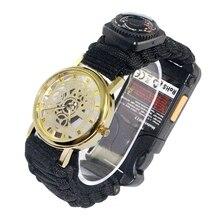 Multifunctional Bracelet Field Survival Braided Bracelets Paracord Rescue Rope Watch Compass Emergency Bracelet Climbing 1PC braided strand bracelet watch