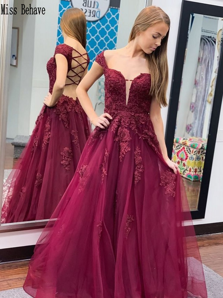 DD JYOY Off Shoulder Evening Dress Long Burgundy Lace Prom Dress Long Formal Evening Gown Sexy Open Back  A Line Dress V Neck