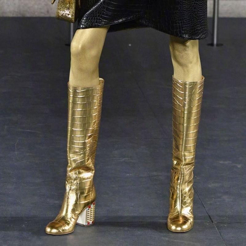Or cuir cristal bloc talon bottes genou haute amande orteil rue Style robe de mode tenue bottes hiver printemps chaussures dames