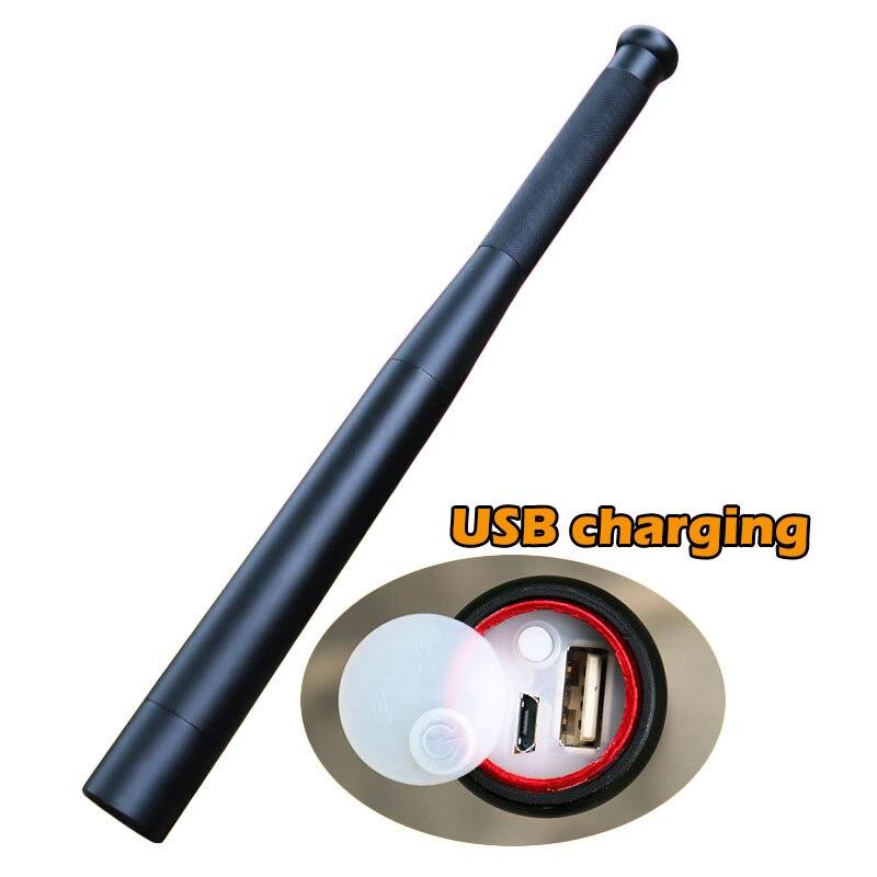Baseball Bat LED Flashlight Outdoors Emergency Self Defense Flashlight Stick USB Charging Functional Anti Riot Safety Equipment