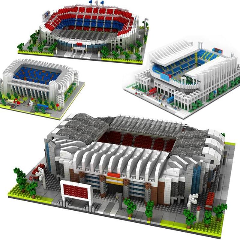 Mini Football Stadium Building Blocks World Football Stadium Field Building Kit Block Brick Architecture Football Club Kid Toy