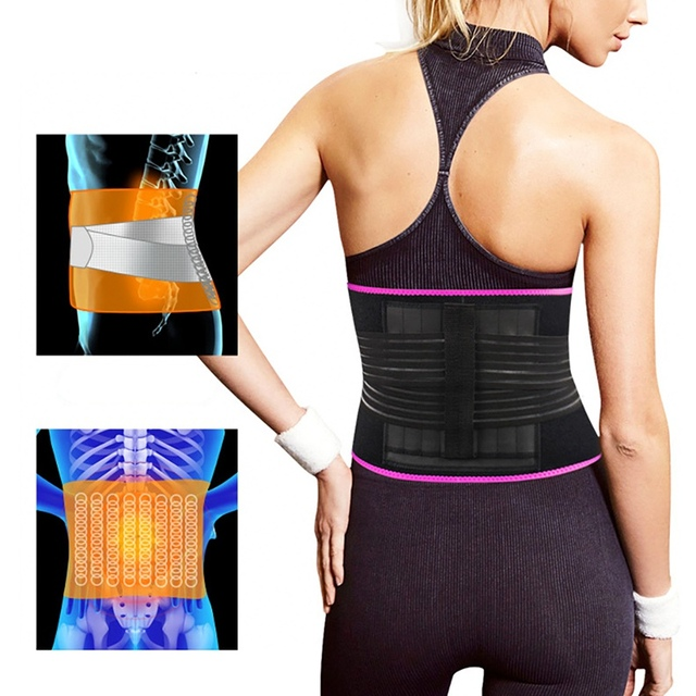 woman Adjustable Elastiac Waist Support Belt Lumbar Back Sweat Belt With Pocket Fitness Belt Waist Trainer Warmer Protection 5