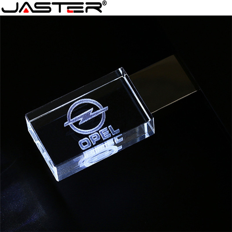 JASTER OPEL Crystal + Metal USB Flash Drive Pendrive 4GB 8GB 16GB 32GB 64GB 128GB External Storage Memory Stick U Disk