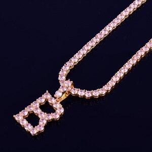 Image 2 - Roze Kleur Zirkoon Tennis Letters Kettingen & Hanger Voor Mannen/Vrouwen Gouden Kleur Mode Hip Hop Sieraden Met 4mm Tennis Chain