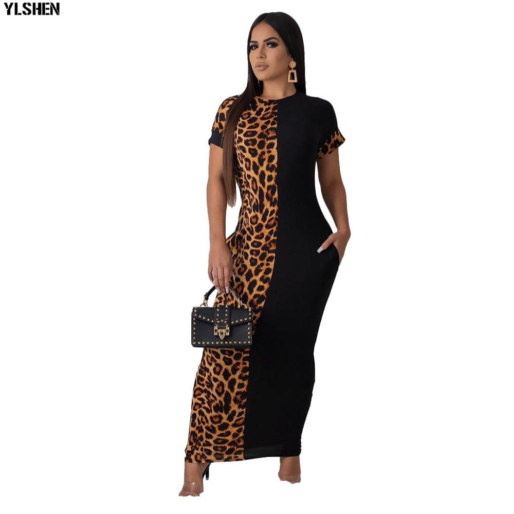 New African Dresses For Women Dashiki Leopard Patchwork Long Skirt Africa Maxi Dress Clothes Bazin Sexy Slim Party Robe Africain