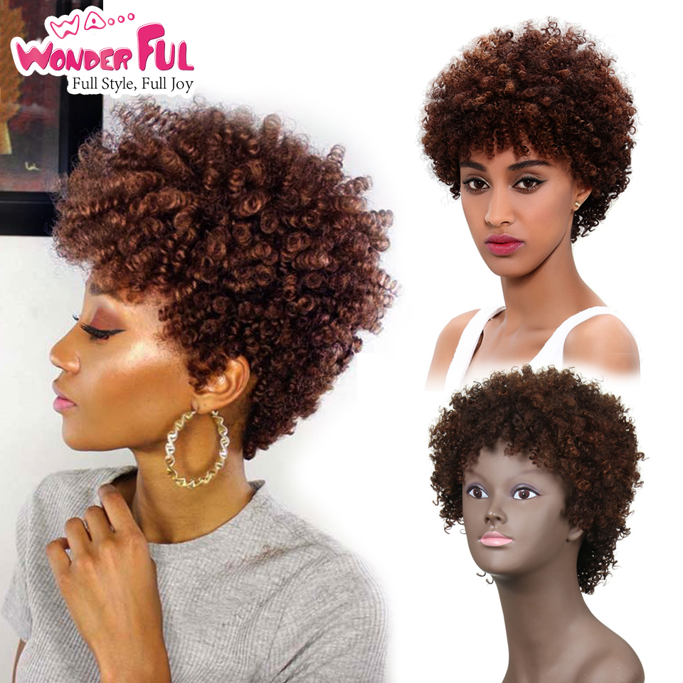 Wa...Wonderful Human Hair Wigs Brazilian Afro Kinky Curly Hair Wigs Short Human Hair Wigs For Black Women Wholesale Machine Made