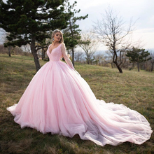 Sweet Long Sleeve Pink Ball Gown Quinceanera Gown Long Sleeve Dress for 15 Years