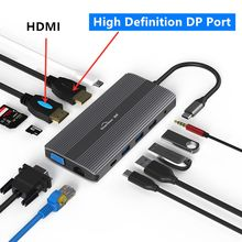 Multi USB 3,0 DP 4K VGA RJ45 Adapter HDMI-kompatibel Splitter 3 Port HUB USB-C Typ C für macBook USB hub Laptop docking station