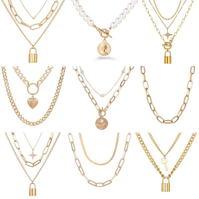 Панк большая звеньевая цепочка ожерелье чокер для женщин стимпанк многослойная звезда Подвеска