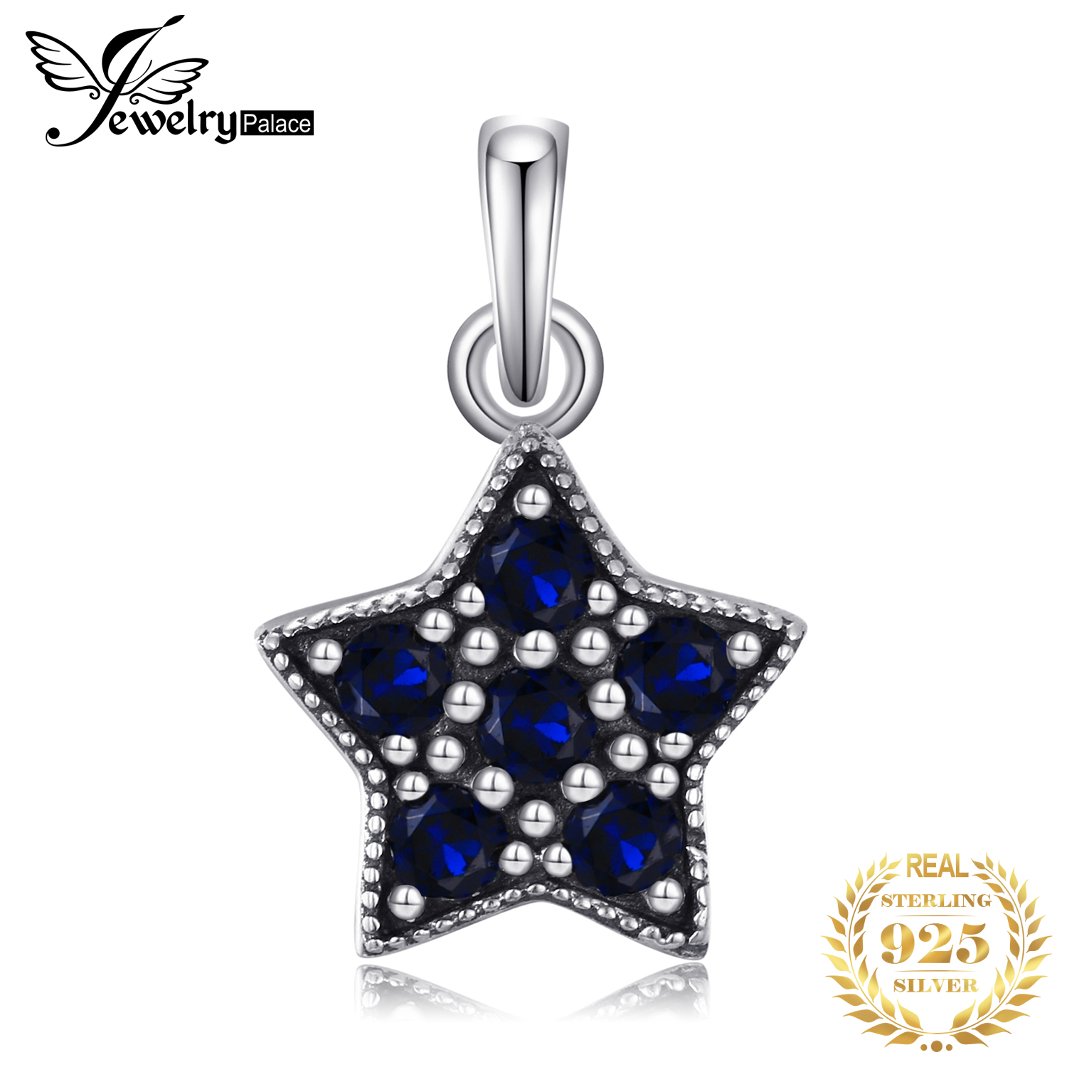 Jewelrypalace 925 Sterling Silver Glitter in Ocean Star Blue Murano Glass Charm Bracelets Gifts For Her Fashion Jewelry Present