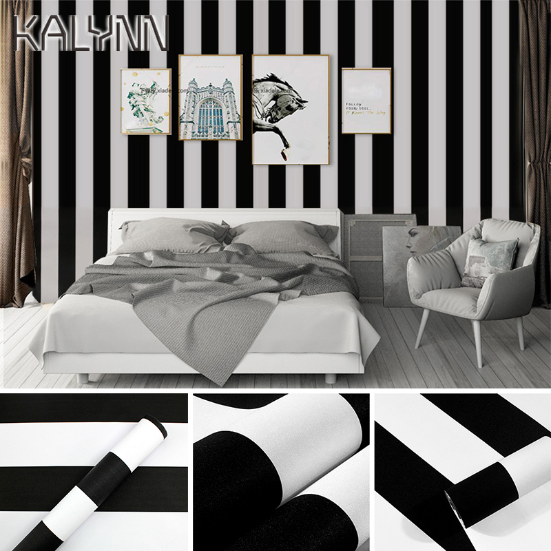 Striped Self-adhesive Wallpaper DIY for Living Room Bedroom Wall Black White Checkered Home Decor Sticker Kitchen Contact paper