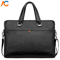 Alena Culian Famous Brand Business Man Briefcase Bag Durable Black Leather Mens Shoulder Bag Side Messenger Bag Laptop Handbag