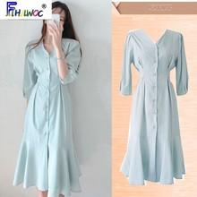 Button-Shirt Dress Japanese-Style Elegant Office Lady Women Flhjlwoc Long-5318 Temperament