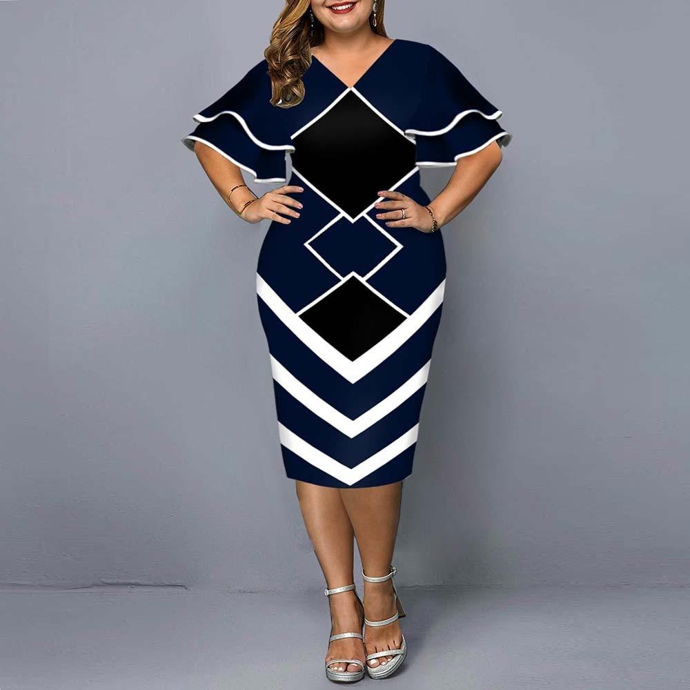Women Plus Size Bodycon Dress 2021 Elegant Geometric Print Evening Party Dress...