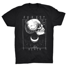 Forest T Shirt Skull Black Night Moon Trees Rock Gothic Metal Boho Wild Magic Top Christmas Gifts Tee Shirt(China)
