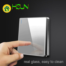 High grade 1 2 3 4 gang 1 2 way big panel Grey switch socket Type 86 Wall 2.5D Cambered Mirror Toughened glass Computer TV