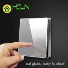 Panel grande gris de alta calidad, interruptor tipo 86, pared 2.5D, espejo de cámara, vidrio templado, TV