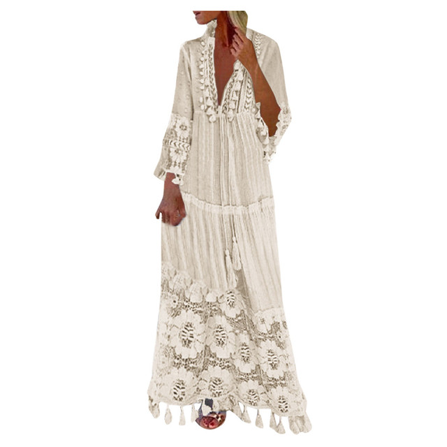 2021 Fashion dresses Casual outfits Bohemian Large Size V-Neck robe clothes Solid Color Lace Tassel Long dress New Design 2