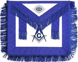 Maçonnieke Schort Wit Lederen Grand Blue Lodge Officiële Maçonnieke Regalia Officiële Schort Borduren Vierkant en Kompas Badge Kwastje