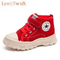 Loveewalk sapatos menino martin botas menina outono inverno 2019 crianças sapatos esportivos moda estrela crianças sapatos de alta superior tênis com pele|Tênis| |  -