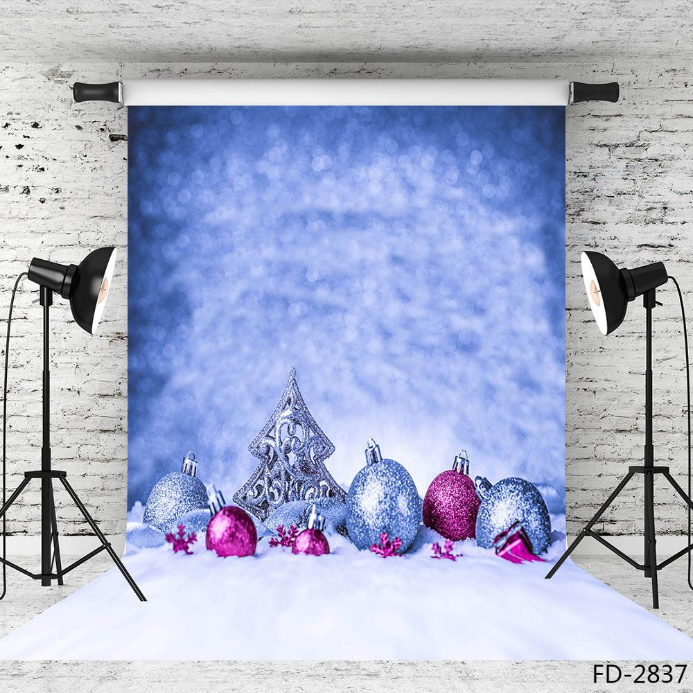 Christmas Ball Snow Blue Bokeh Photographic Backdrop Vinyl Cloth Backgrounds for Baby Child Photo Studio Fotografia Photophone