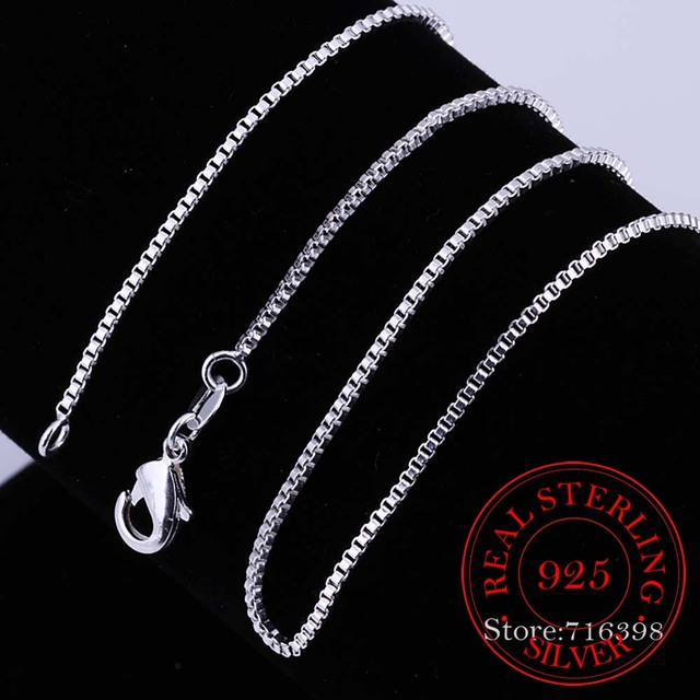 40cm-60cm Thin Real 925 Sterling Silver Slim Box Chain Necklace Women Girls Children 16-24inch Jewelry kolye collares collier
