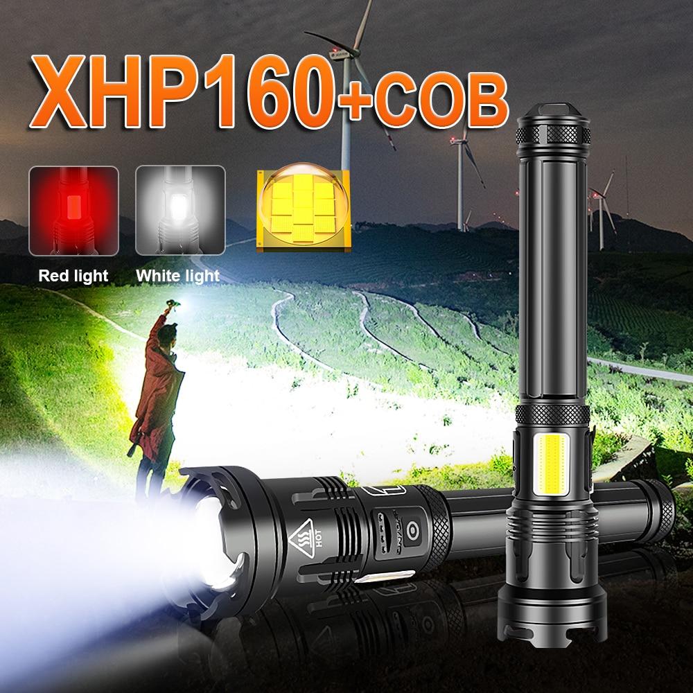 800000 ЛМ Ультра Мощная XHP160 светодиодная вспышка светильник 18650 Перезаряжаемые светодиодный фонарь светильник Xhp90 светодиодный тактический в...