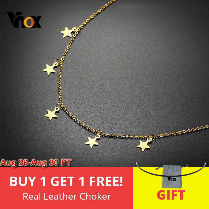 Vnox Chokers-Necklaces Charms Jewelry Street-Wear Star Stainless-Steel Adjustable Party
