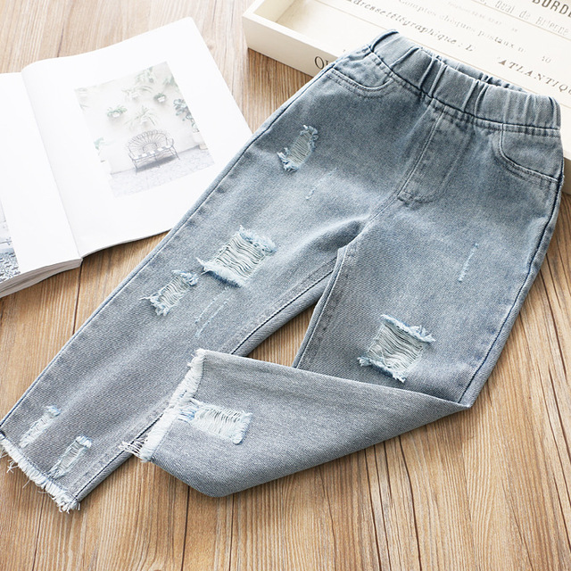 Boys and Girls Jeans 2020 Spring Hole Leisure Pants