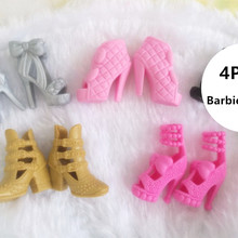 High Quality 4 pair / lot Orignal Shoes for Barbie Doll Fash