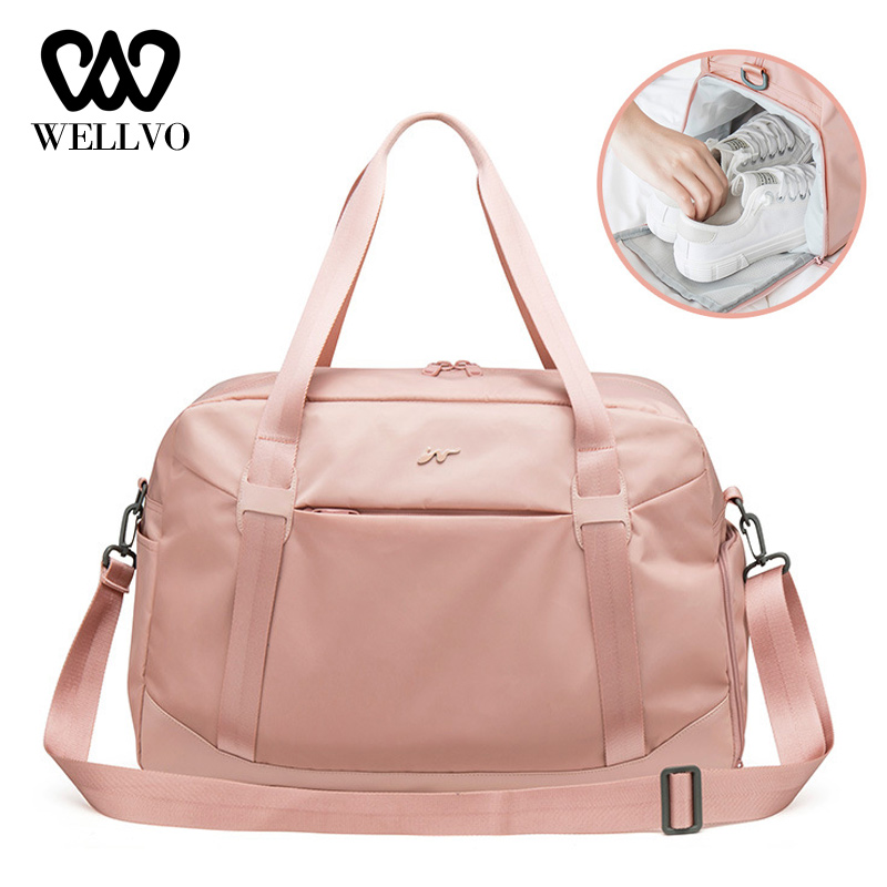 Fashion Foldable Luggage Bag Women Shoulder Duffle Travel Bag In Travel Bags Shoe Compartment Large Capacity Handbag XA786WB