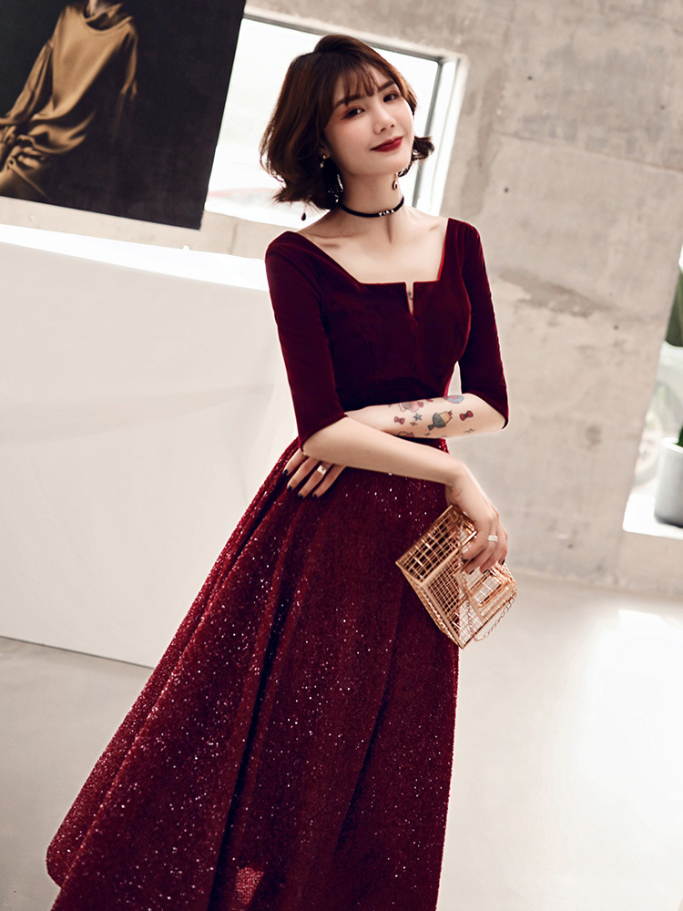 Bride Marriage Dress For Toast Long 2019 New Style Autumn And Winter Red V-neck Engagement Formal Dress Annual General Meeting L