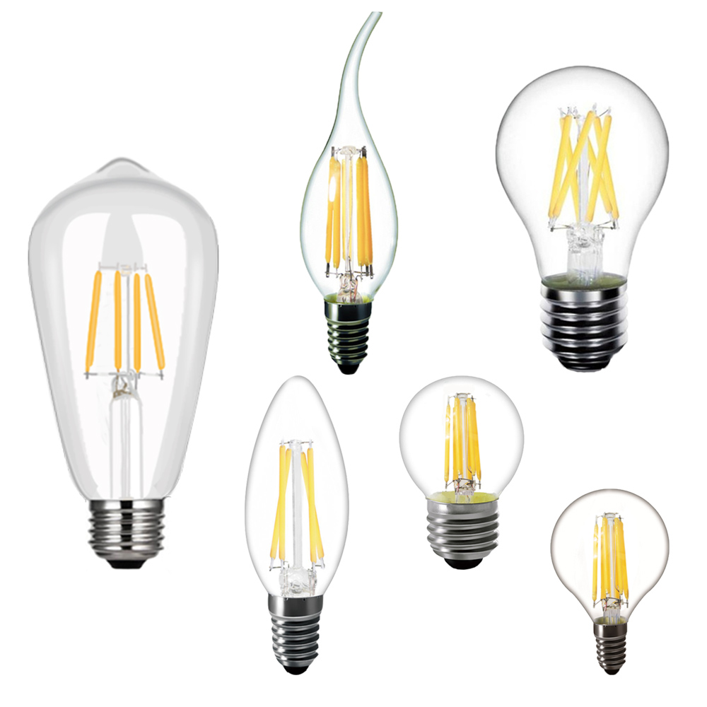 Lamp Filament E14 E27 C35 C35L G45 A60 ST64 Warm White Glass Energy Saving 2W 4W 6W 8W 360degree Decoration Living Room