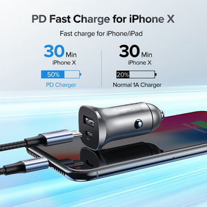 Image 2 - Ugreen Quick Charge 4.0 3.0 QC USB Car Charger for Xiaomi QC4.0 QC3.0 18W Type C PD Car Charging for iPhone 12 X Xs 8 PD Charger