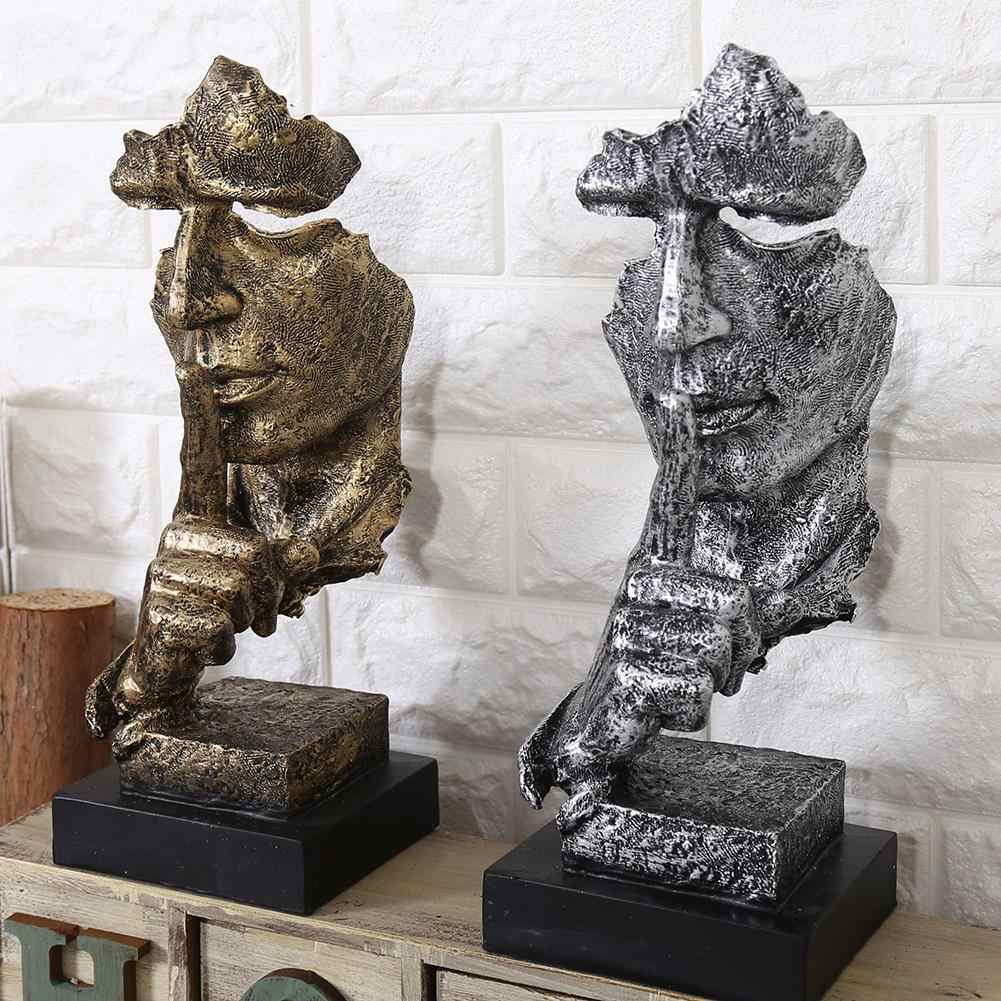Abstract Sculpture Figurine Ornaments Resin Silence Is Gold Sculpture Statuette Figurine Craft Office Home Decoration Modern Art