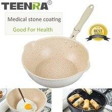 TEENRA 20 см Maifan Камень вок антипригарная сковорода алюминиевые сковороды японский бытовой вок кухонный горшок для завтрака