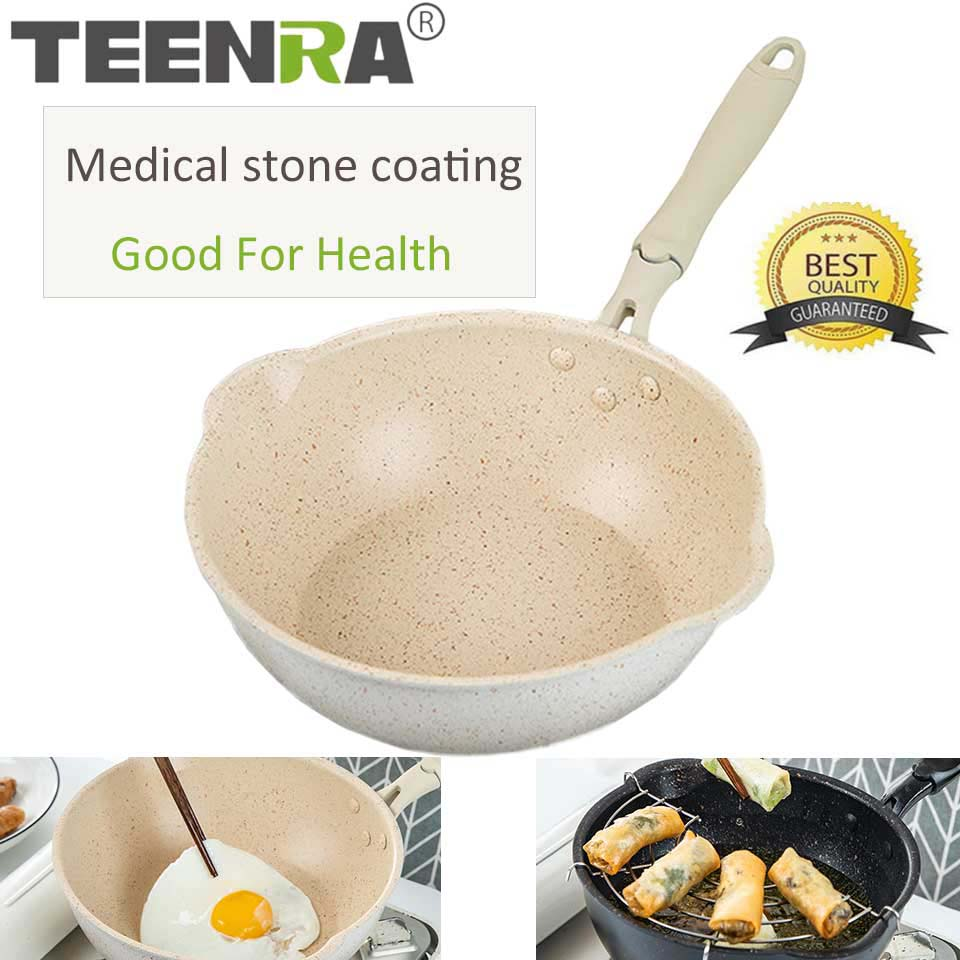 TEENRA 20Cm Maifan Stone Wok Non-stick Pan Aluminum Frying Pans Japanese Household Wok Kitchen Breakfast Pot