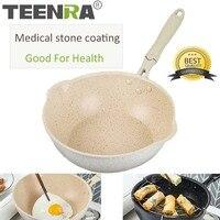 TEENRA 20Cm Maifan Stone Wok Non stick Pan Aluminum Frying Pans Japanese Household Wok Kitchen Breakfast Pot
